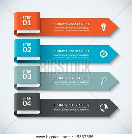 Arrow design elements for business infographics. Minimalistic template with 4 options, steps, parts. Can be used for web, diagram, graph, workflow layout, chart, report. Vector numbered banner
