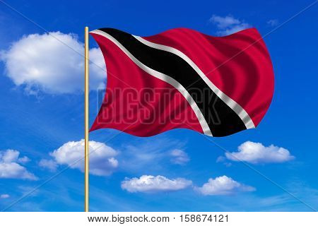 Trinidadian and Tobagonian national official flag. Patriotic symbol banner background. Correct colors. Flag of Trinidad and Tobago on flagpole waving in the wind blue sky background. Fabric texture. 3D rendered illustration