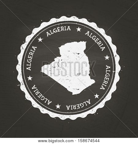 White Chalk Texture Rubber Stamp With People's Democratic Republic Of Algeria Map On A School Blackb
