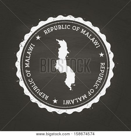 White Chalk Texture Rubber Stamp With Republic Of Malawi Map On A School Blackboard. Grunge Rubber S