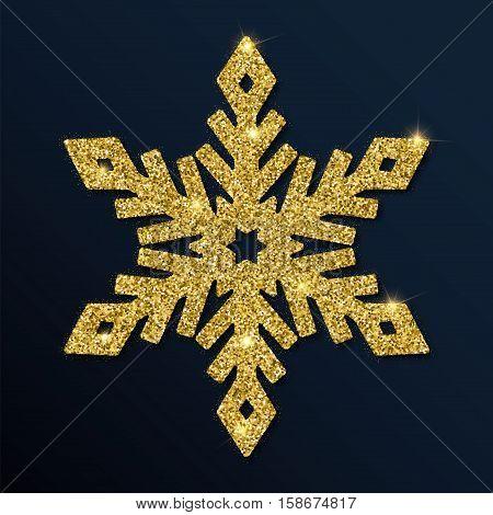 Golden Glitter Magnificent Snowflake. Luxurious Christmas Design Element, Vector Illustration.