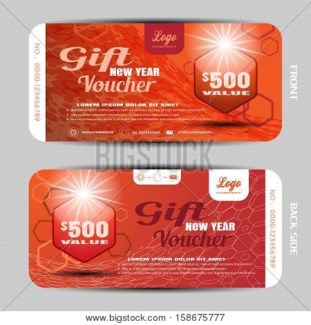 Vector gift new year voucher on the red gradient background with hexagon pattern.