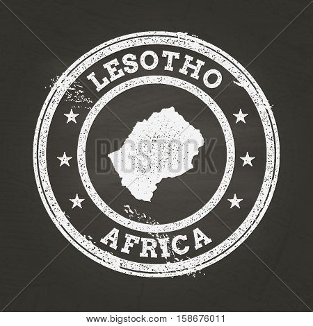 White Chalk Texture Grunge Stamp With Kingdom Of Lesotho Map On A School Blackboard. Grunge Rubber S