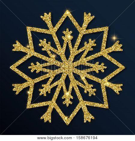 Golden Glitter Excellent Snowflake. Luxurious Christmas Design Element, Vector Illustration.