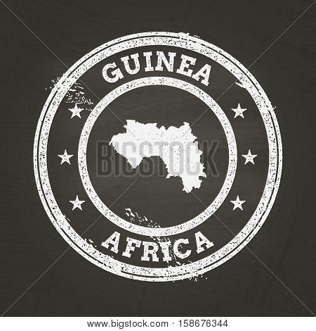 White Chalk Texture Grunge Stamp With Republic Of Guinea Map On A School Blackboard. Grunge Rubber S