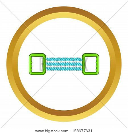 Spring expander vector icon in golden circle, cartoon style isolated on white background