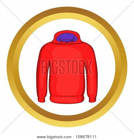 Mens winter sweatshirt vector icon in golden circle, cartoon style isolated on white background