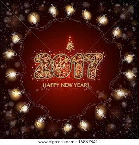2017. Happy New Year background with luminous electric garland. Christmas greeting card. Hand drawn text.
