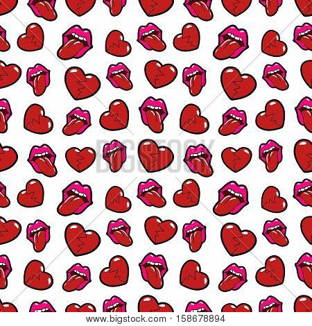 Lips and Broken Hearts Seamless Pattern. Love Background in Retro Fashion Style. Vector illustration