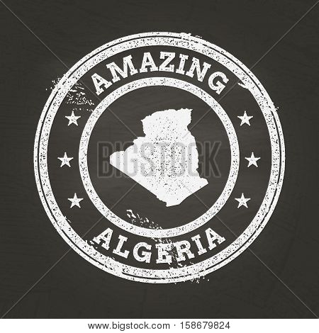 White Chalk Texture Vintage Stamp With People's Democratic Republic Of Algeria Map On A School Black