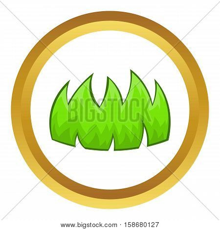 Green grass vector icon in golden circle, cartoon style isolated on white background