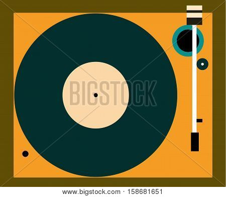 Vinyl record Vector illustration Retro turntable in top view Flat design