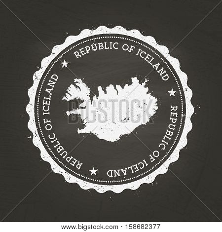 White Chalk Texture Rubber Stamp With Republic Of Iceland Map On A School Blackboard. Grunge Rubber