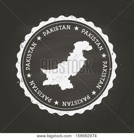 White Chalk Texture Rubber Stamp With Islamic Republic Of Pakistan Map On A School Blackboard. Grung