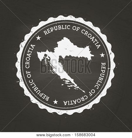White Chalk Texture Rubber Stamp With Republic Of Croatia Map On A School Blackboard. Grunge Rubber