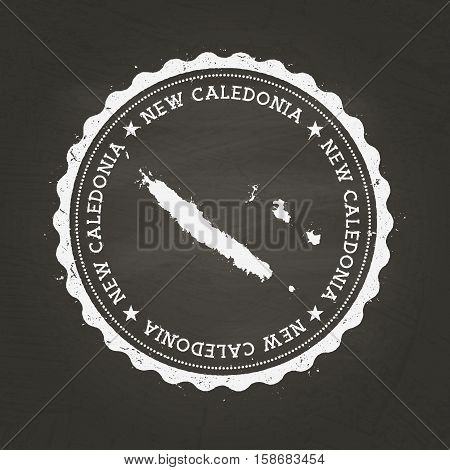 White Chalk Texture Rubber Stamp With New Caledonia Map On A School Blackboard. Grunge Rubber Seal W