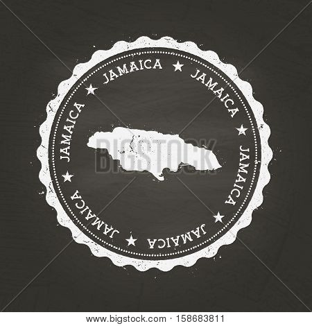 White Chalk Texture Rubber Stamp With Jamaica Map On A School Blackboard. Grunge Rubber Seal With Co