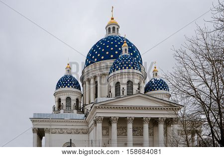 Holy trinity cathedral in Saint Petersburg Russia in winter time. It has the biggest wooden dome in Europe painted in deep blue with golden stars on.