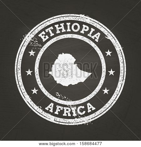 White Chalk Texture Grunge Stamp With Federal Democratic Republic Of Ethiopia Map On A School Blackb