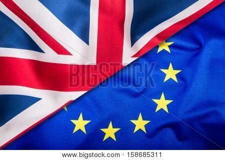 Flags of the United Kingdom and the European Union. UK Flag and EU Flag. British Union Jack flag.