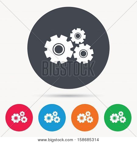 Cogwheels icon. Repair service symbol. Colored circle buttons with flat web icon. Vector