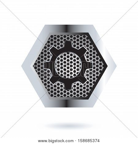 Perforated Hexagon Icon Design. AI 10 Supported.