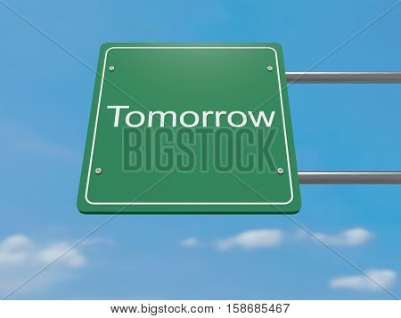 Business Concept: Tomorrow Road Sign 3d illustration
