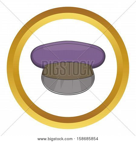 Cap vector icon in golden circle, cartoon style isolated on white background