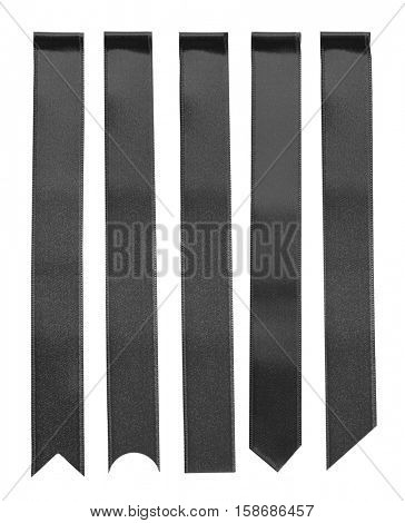Collage of black bookmarks on white background