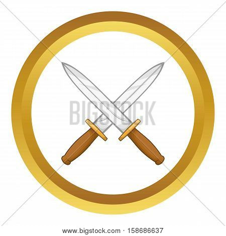 Knives vector icon in golden circle, cartoon style isolated on white background