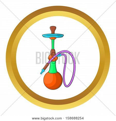Hookah vector icon in golden circle, cartoon style isolated on white background