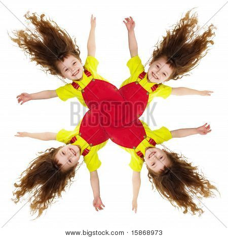 Cheerful Collage - Pinwheel Of Smiling Little Girls