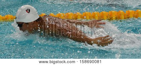 Hong Kong China - Oct 29 2016. American competitive swimmer LIANG Alex Wang (USA) swimming butterfly. FINA Swimming World Cup Preliminary Heats Victoria Park Swimming Pool.