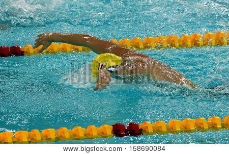 Hong Kong China - Oct 29 2016. Austrian swimmer Sebastian STEFFAN (AUT) swiming butterfly. FINA Swimming World Cup Preliminary Heats Victoria Park Swimming Pool.