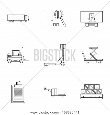 Cargo packing icons set. Outline illustration of 9 cargo packing vector icons for web