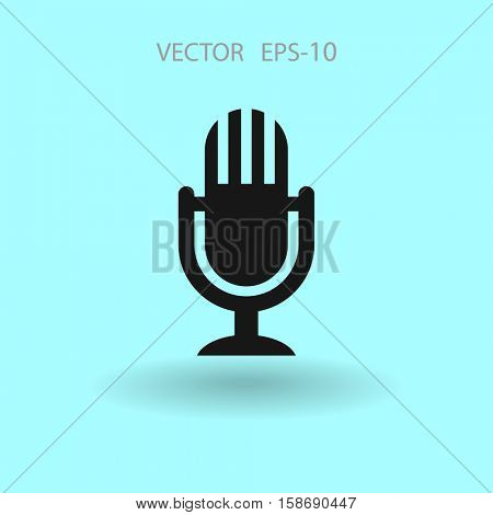 Flat  icon of microphone. vector illustration