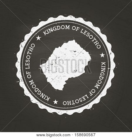 White Chalk Texture Rubber Stamp With Kingdom Of Lesotho Map On A School Blackboard. Grunge Rubber S