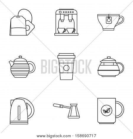Types of drinks icons set. Outline illustration of 9 types of drinks vector icons for web