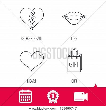 Achievement and video cam signs. Love heart, kiss lips and gift icons. Broken heart linear sign. Calendar icon. Vector