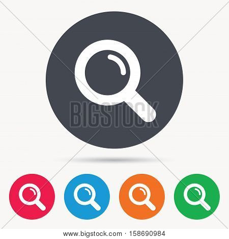 Magnifier icon. Search magnifying glass symbol. Colored circle buttons with flat web icon. Vector