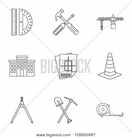 Repair icons set. Outline illustration of 9 repair vector icons for web