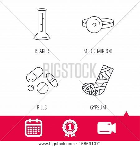 Achievement and video cam signs. Gypsum, lab beaker and medical pills icons. Medical mirror linear sign. Calendar icon. Vector