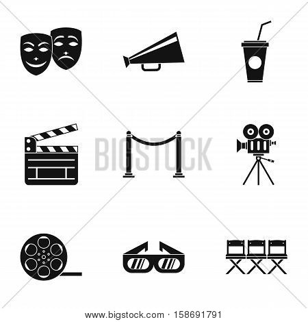 Movie theater icons set. Simple illustration of 9 movie theater vector icons for web