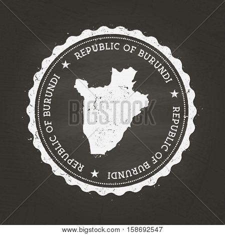 White Chalk Texture Rubber Stamp With Republic Of Burundi Map On A School Blackboard. Grunge Rubber