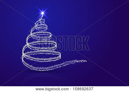 Abstract christmas tree blue background. White christmas tree from lines sparkles dots and transparent circles on blue gradient backdrop with shadow and reflection.
