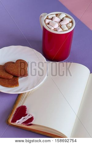 Gingerbread Cookies, Cup Of Cocoa And Notebook