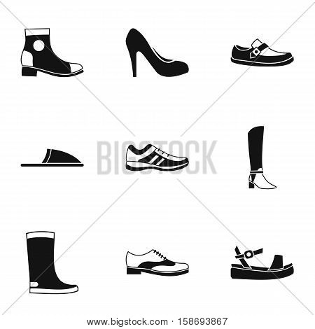 Types of shoes icons set. Simple illustration of 9 types of shoes vector icons for web