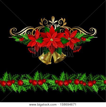 Christmas decoration set with evergreen treess holly and poinsettia isolated on black with swirls and bells and seamless border