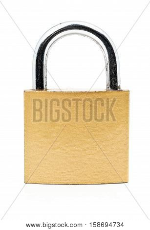 Locked brass golden colored clean padlock over white background