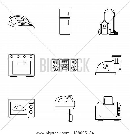 Technique icons set. Outline illustration of 9 technique vector icons for web